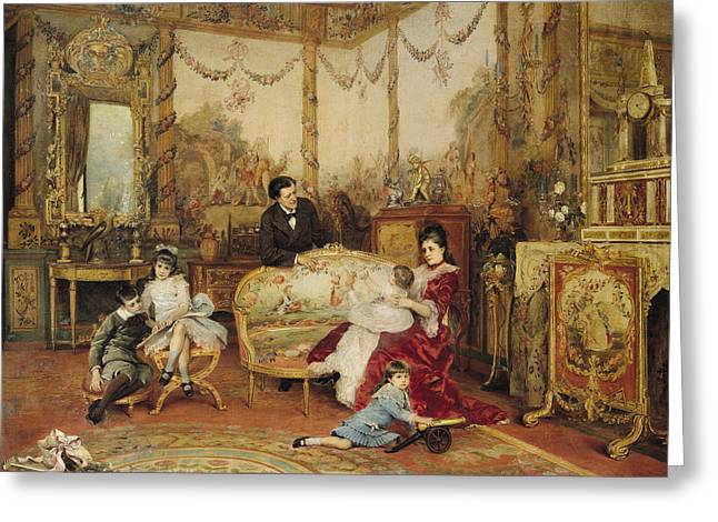 Victorien Sardou And His Family In Their Drawing Room Greeting Card by Auguste de la Brely