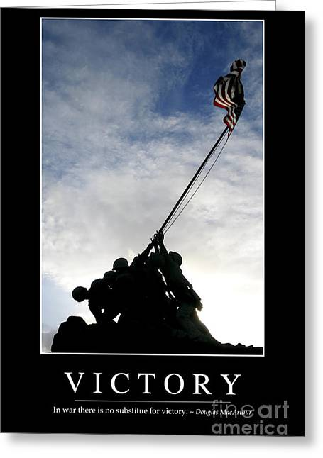 Victory Inspirational Quote Greeting Card by Stocktrek Images