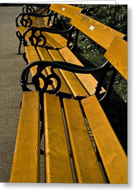 Vienna Benches Greeting Card by Gabor Fichtacher