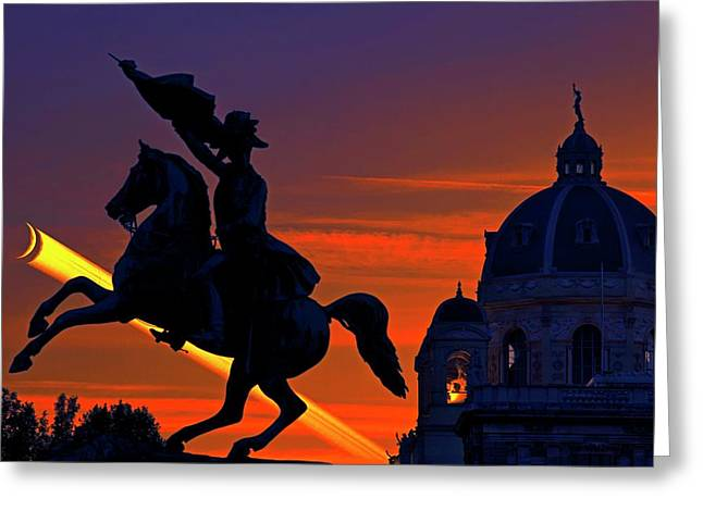Vienna Monuments And Crescent Moon Greeting Card by Babak Tafreshi