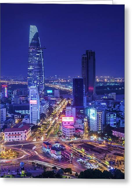 Vietnam, Ho Chi Minh City Greeting Card by Walter Bibikow