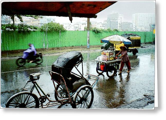 Vietnam Rainy Saigon Greeting Card