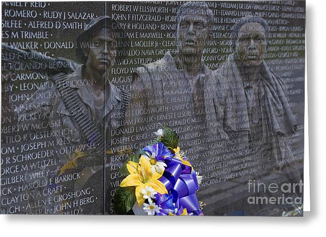 Vietnam Veteran Wall And Three Soldiers Memorial Collage Washington Dc_2 Greeting Card by David Zanzinger