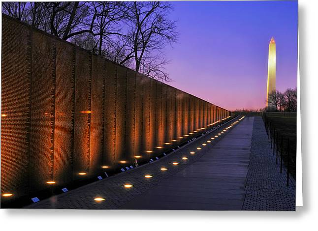 Vietnam Veterans Memorial At Sunset Greeting Card