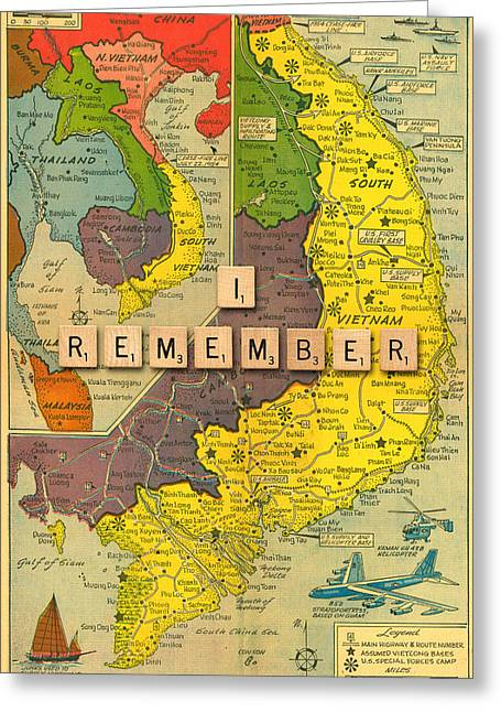 Vietnam War Map Greeting Card