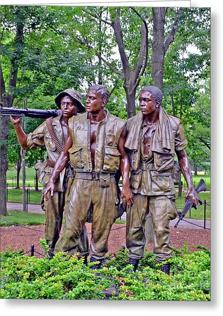 Vietnam War Memorial Three Servicemen Statue In Washington D.c. Greeting Card