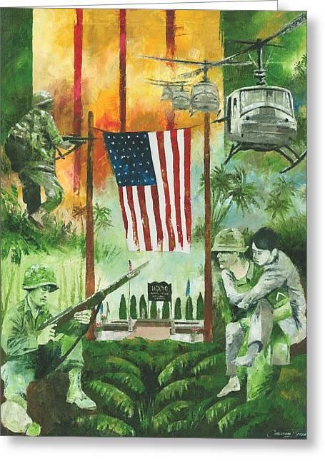 Vietnam War Tribute Greeting Card by Christiaan Bekker