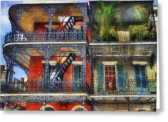 Greeting Card featuring the photograph Vieux Carre' Balconies by Tammy Wetzel
