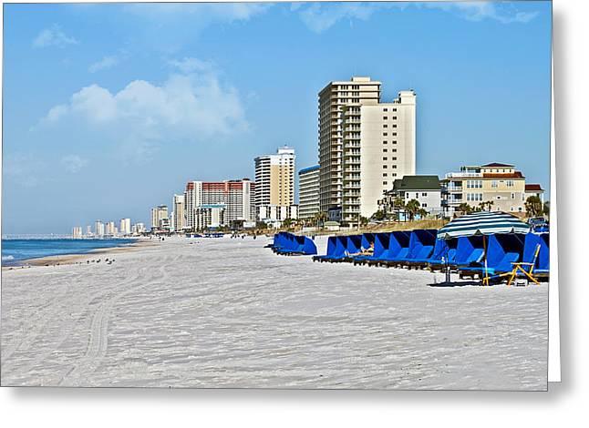 View Down A Quiet Beach Greeting Card by Susan Leggett