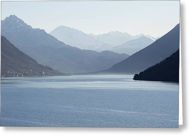 View Down Lake To Snow Capped Mountain Greeting Card