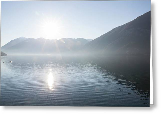 View Down Lake To Sun Rising Greeting Card