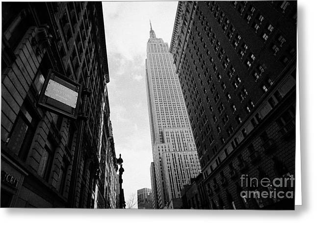 View Empire State Building From West 34th Street And Broadway Junction New York City Greeting Card by Joe Fox