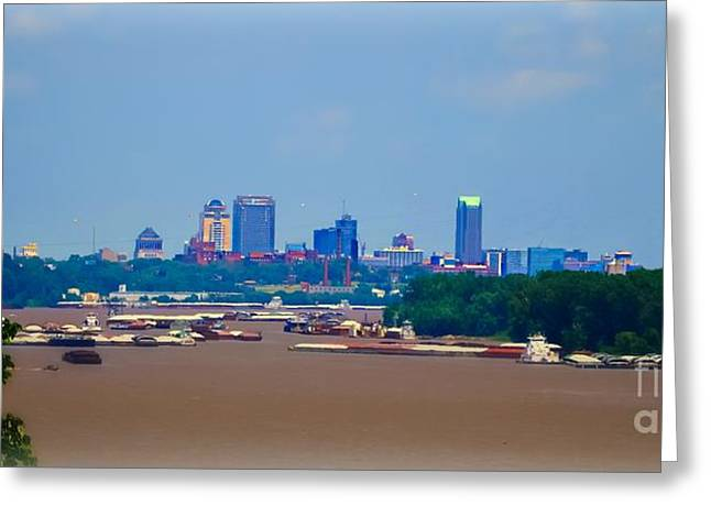 View From A Far St. Louis Downtown Greeting Card by Peggy Franz