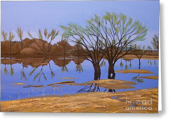Greeting Card featuring the painting View From A Temporary Island by Robert Coppen