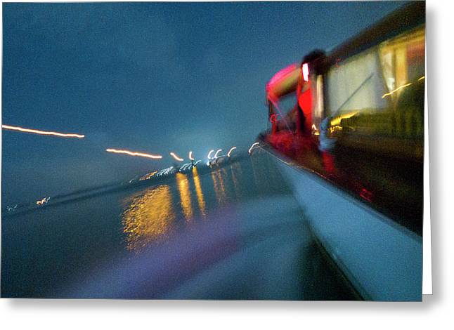 View From A Water Taxi As It Makes Greeting Card by Stephen Alvarez