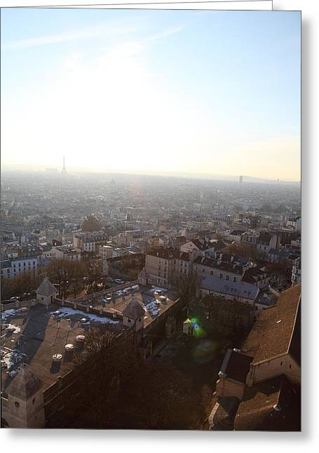 View From Basilica Of The Sacred Heart Of Paris - Sacre Coeur - Paris France - 011314 Greeting Card
