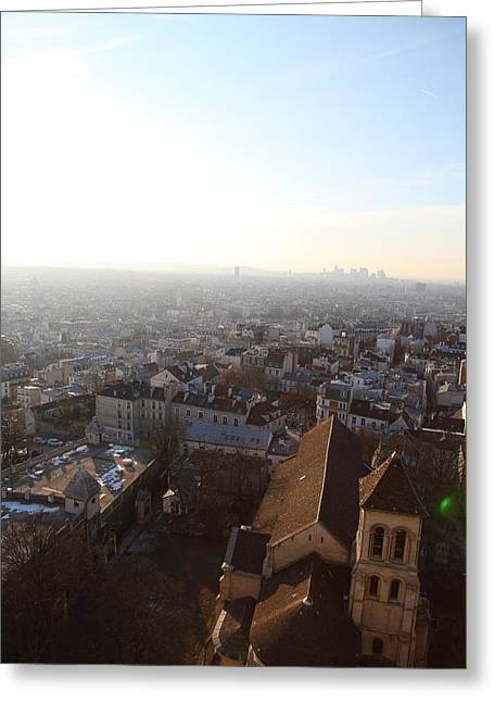 View From Basilica Of The Sacred Heart Of Paris - Sacre Coeur - Paris France - 011316 Greeting Card