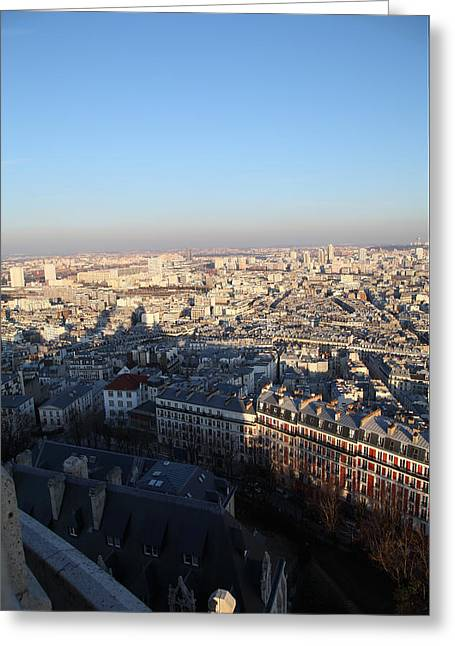 View From Basilica Of The Sacred Heart Of Paris - Sacre Coeur - Paris France - 011326 Greeting Card