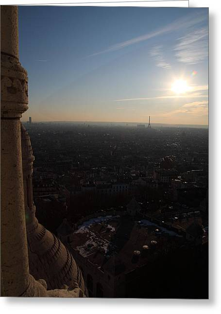 View From Basilica Of The Sacred Heart Of Paris - Sacre Coeur - Paris France - 01139 Greeting Card