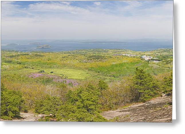 View From Dorr Mountain Over Great Meadow Acadia National Park Maine Greeting Card