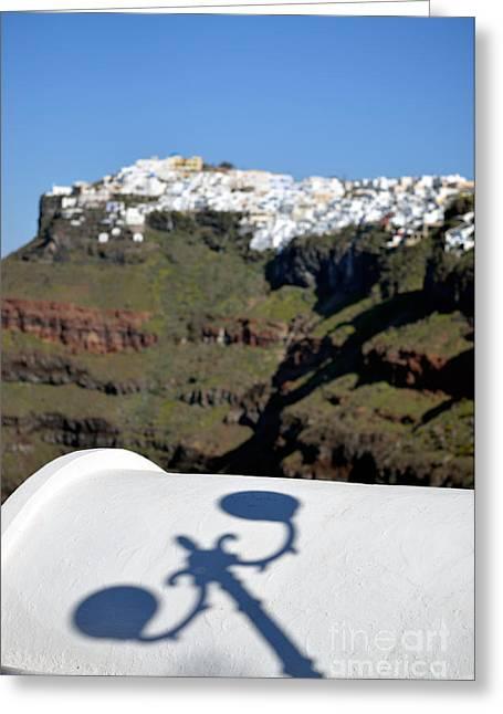 View From Firostefani In Santorini Island Greeting Card