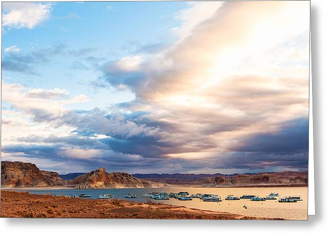 View From Lake Powell Harbor Greeting Card by Susan Schmitz