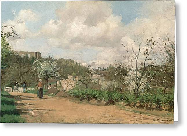 View From Louveciennes, 1869-70 Oil On Canvas Greeting Card by Camille Pissarro