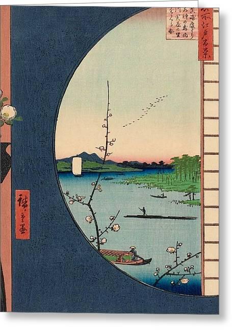 View From Massaki Of Suijin Shrine Greeting Card by Utagawa Hiroshige