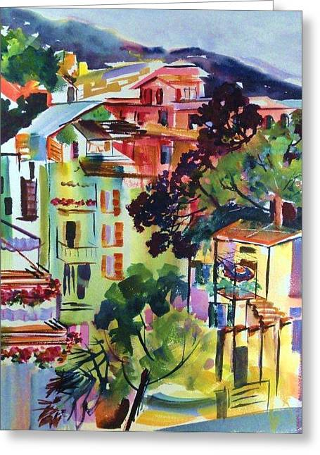 View From Our Hotel Window Cinque Terre Greeting Card by Therese Fowler-Bailey