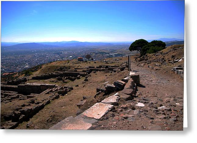 View From Pergamum Acropolis Greeting Card by Jacqueline M Lewis