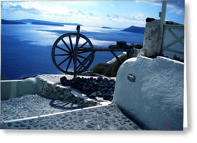 Greeting Card featuring the photograph View From Santorini Island Greece by Colette V Hera  Guggenheim