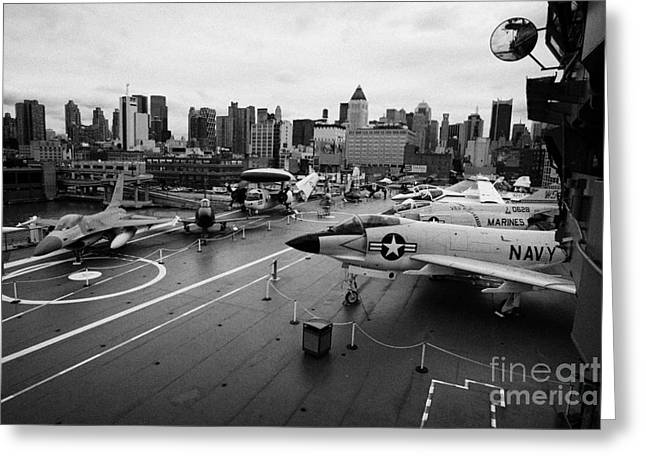 view from the bridge of the USS Intrepid at the Intrepid Sea Air Space Museum new york city usa Greeting Card by Joe Fox