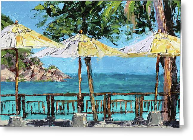 View From The Coast Greeting Card by Leslie Saeta
