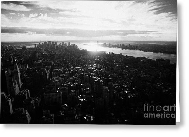 View From The Empire State Building Over Lower Manhattan New York City Usa Greeting Card