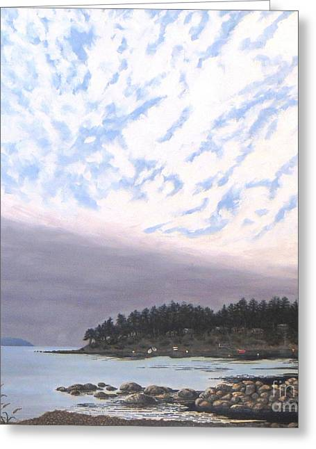 View From The Haven Beach Gabriola Greeting Card by Beverly Theriault
