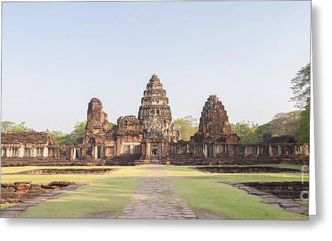 View From The Passage Way Of Prasat Hin Phimai Temple In Thailand Greeting Card by Roberto Morgenthaler