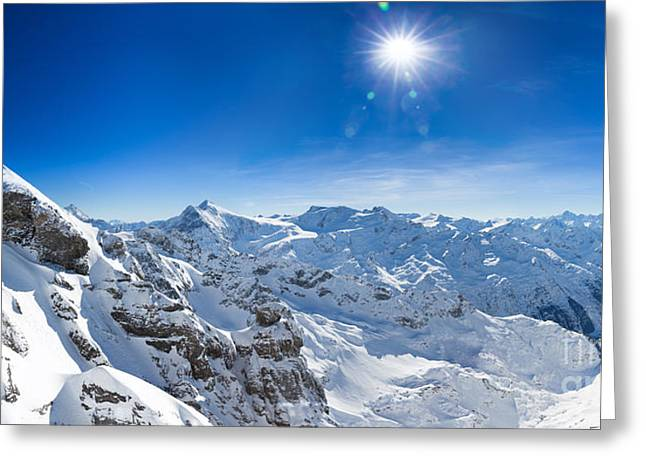 View From Titlis Mountain Towards The South Greeting Card