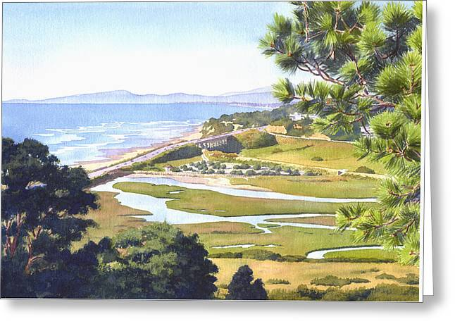 View From Torrey Pines Del Mar Greeting Card by Mary Helmreich
