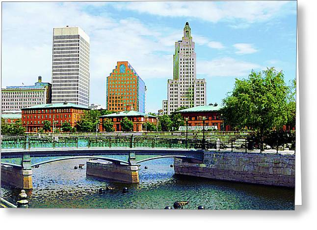 View From Waterplace Park Providence Ri Greeting Card by Susan Savad