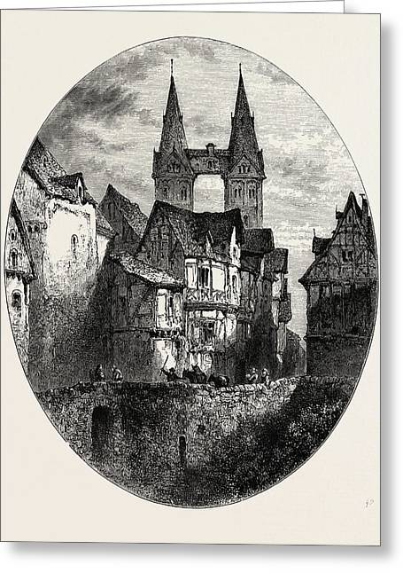 View In Boppart, The Rhine, Germany Greeting Card by German School