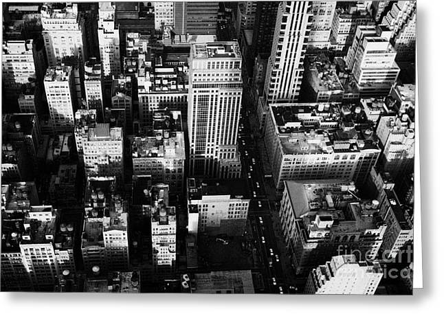 View North And Down Towards Building Rooftops And Fifth 5th Avenue Ave From Empire State Building Greeting Card by Joe Fox