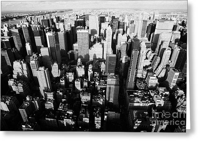 View North And Down Towards Central Park From Empire State Building Greeting Card