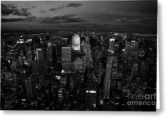 View North At Dusk Towards Central Park New York City Night Cityscape Greeting Card