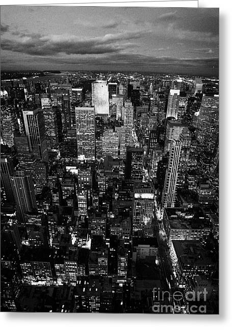 View North At Dusk Towards Central Park New York City Skyline  Greeting Card