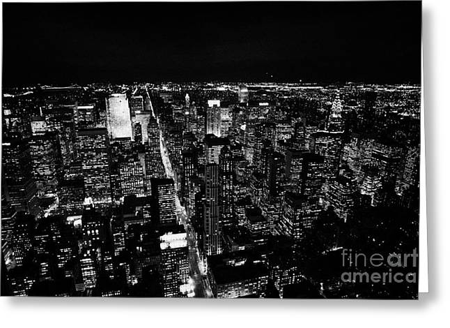 View North At Night Towards Central Park At Night New York City Skyline Greeting Card