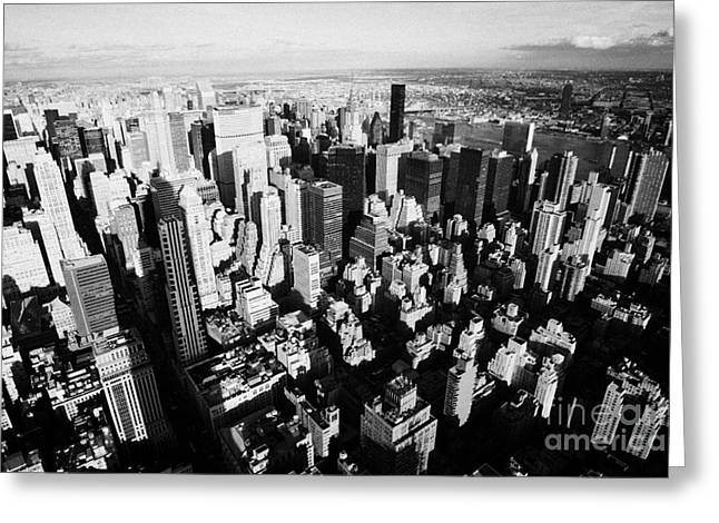 View North East Of Manhattan Queens East River From Observation Deck Empire State Building Greeting Card by Joe Fox