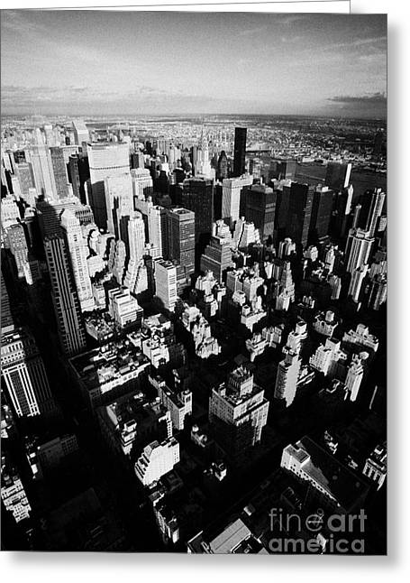 View North East Of Manhattan Queens East River From Observation Deck Empire State Building New York Greeting Card by Joe Fox