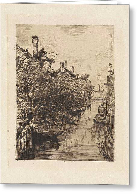 View Of A Canal In Amsterdam, Frans Schikkinger Greeting Card by Frans Schikkinger
