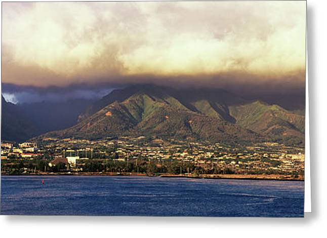 View Of A City At The Waterfront, Maui Greeting Card