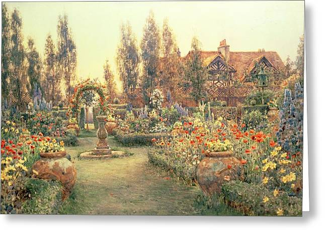 View Of A Country House And Garden Greeting Card by Ernest Arthur Rowe